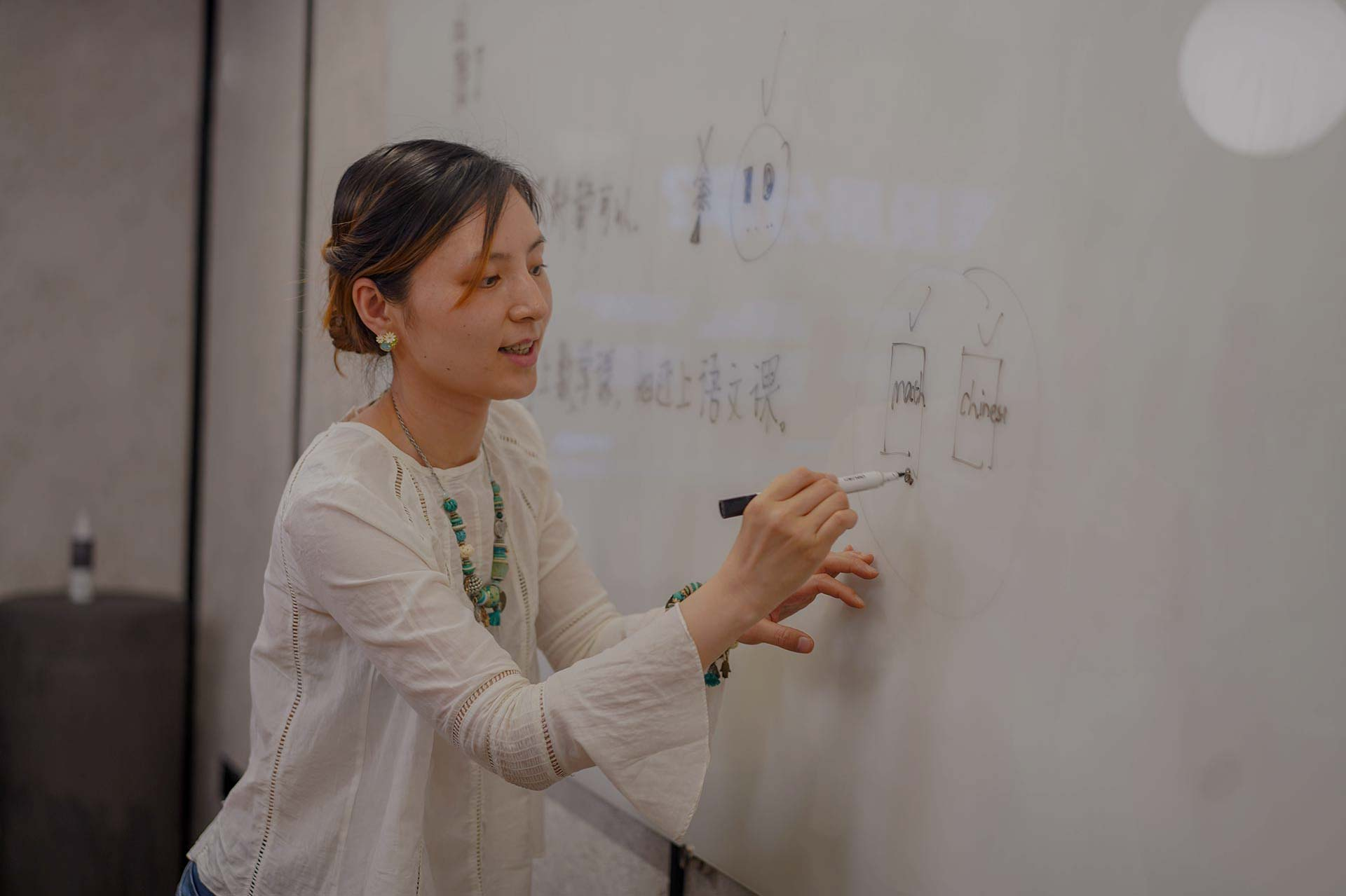 Teacher giving chinese lessons on a whiteboard