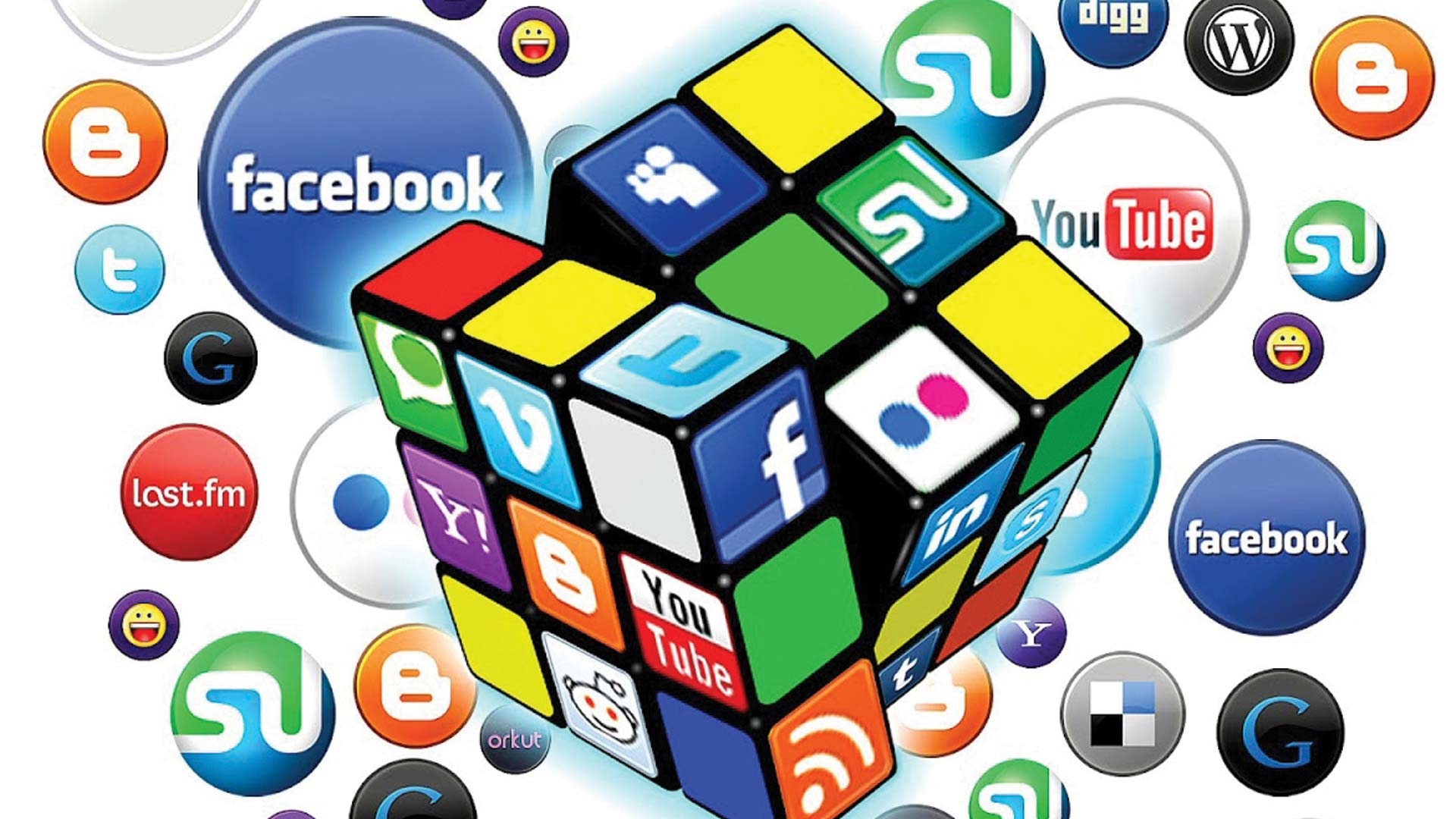 Rubiks cube with social media icons surrounding it